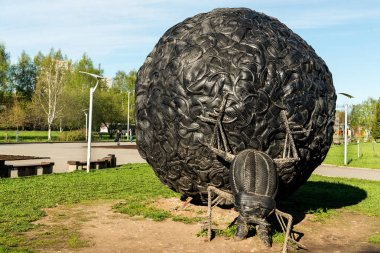Art object Dung-beetle made of old tyres in Perm city, Russia