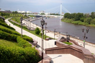 Embankment of Tura river in Tumen city, Russian Federation