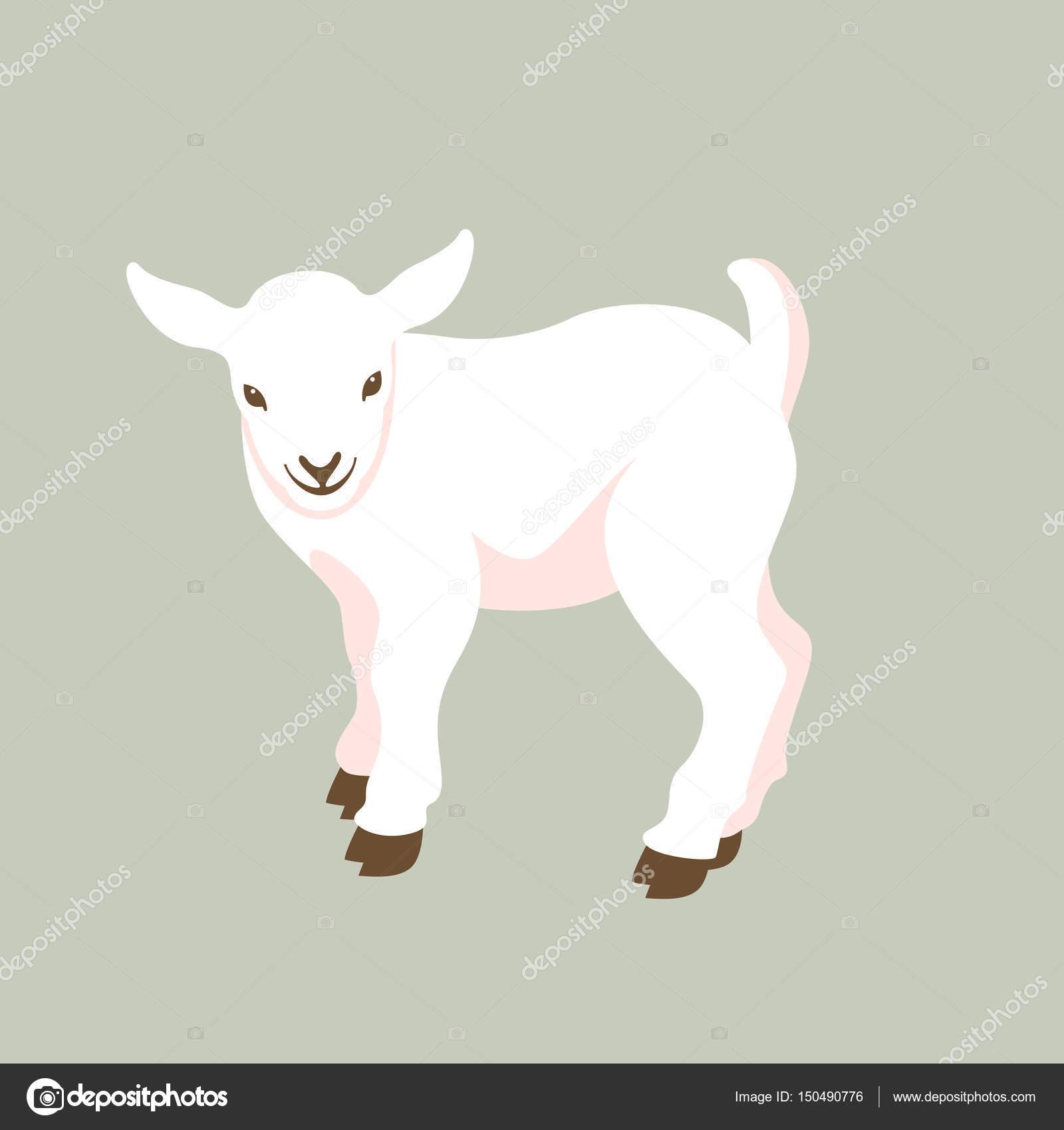 子供のヤギ ベクトル イラスト スタイル フラット ストックベクター