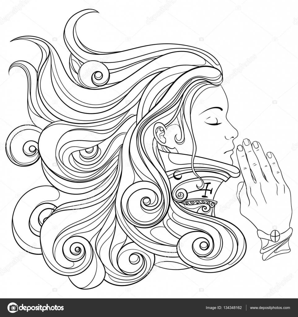 Imágenes Para Colorear De Mujeres Orando Mujer Orando Con Los