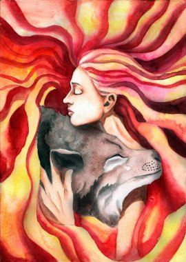 the girl hugging the wolf