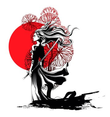 girl samurai standing with sword in hand, a strong wind ruffling