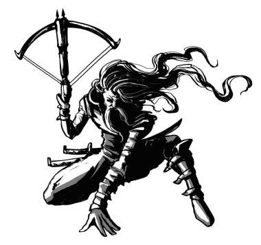 A bounty hunter in a dynamic pose, with long hair, a mustache and a crossbow in his hand, loaded with two arrows, on a white background . 2D Illustration.