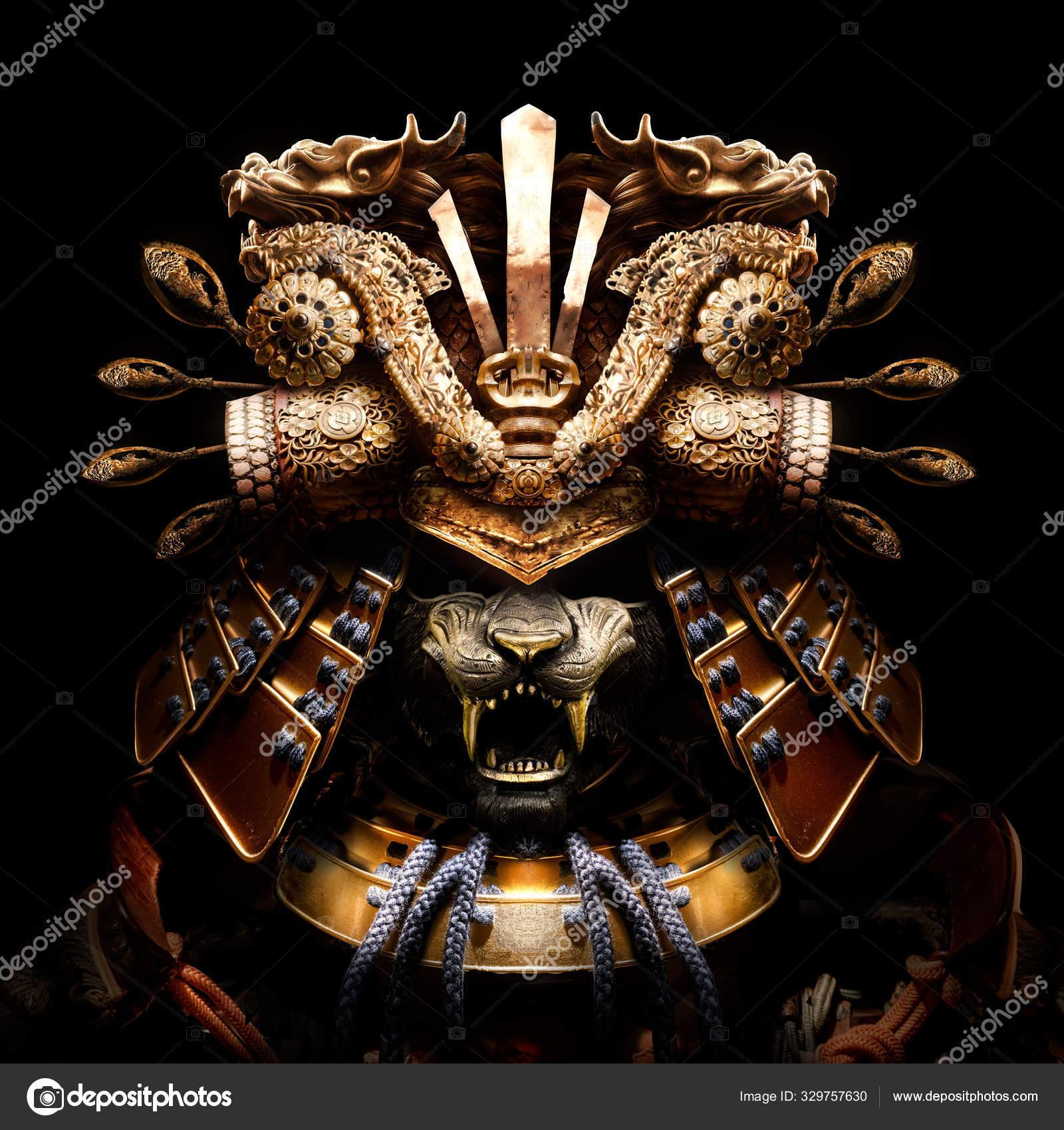 Terrifying Golden Samurai Helmet Tiger Mask Sharp Fangs Many Beautiful Stock Photo C Warmtail 329757630