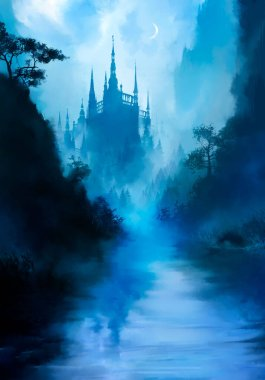 A beautiful fairytale landscape with a river in the foreground, and a huge tall castle in the distance, with many towers, it is shrouded in fog, we see a crescent moon in the sky. 2
