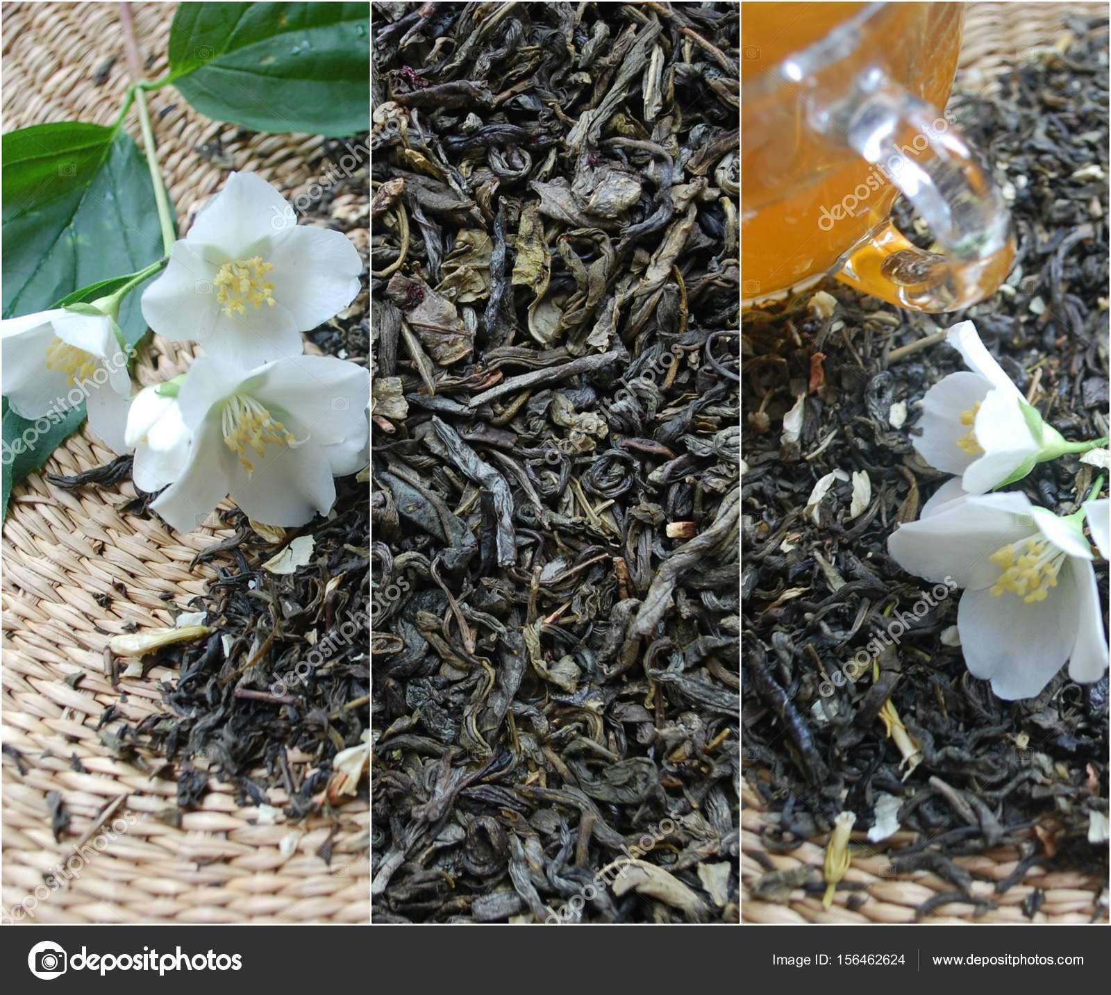 Green Tea And Jasmine Flowers Stock Photo Late8 156462624