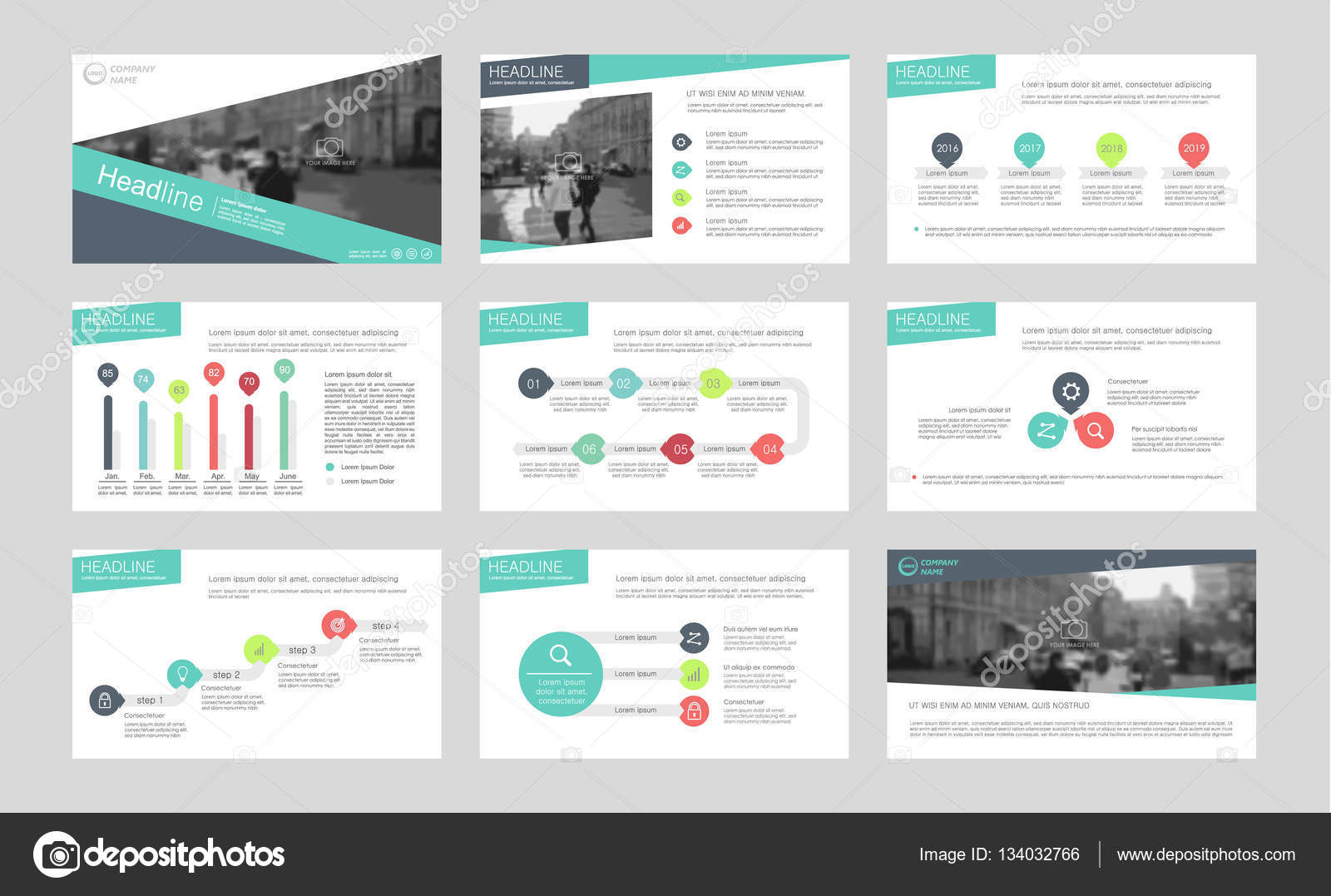 infographic elements for presentation templates stock vector