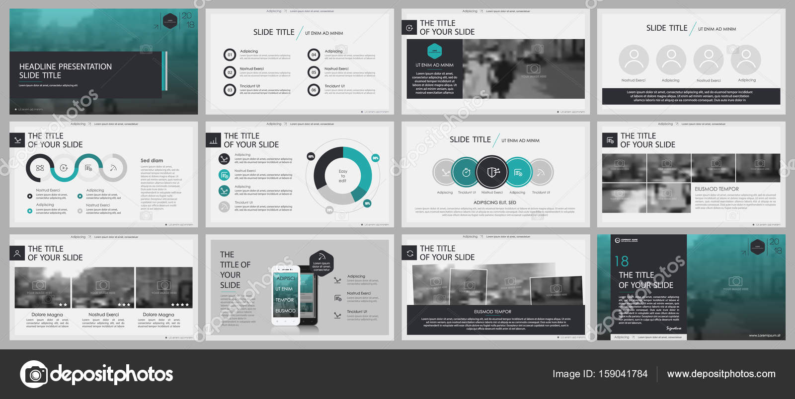 2126dab626dee8 Black and green Elements for PowerPoint Presentation templates on a white  background. Use in presentation, flyer and leaflet, corporate report,  marketing, ...