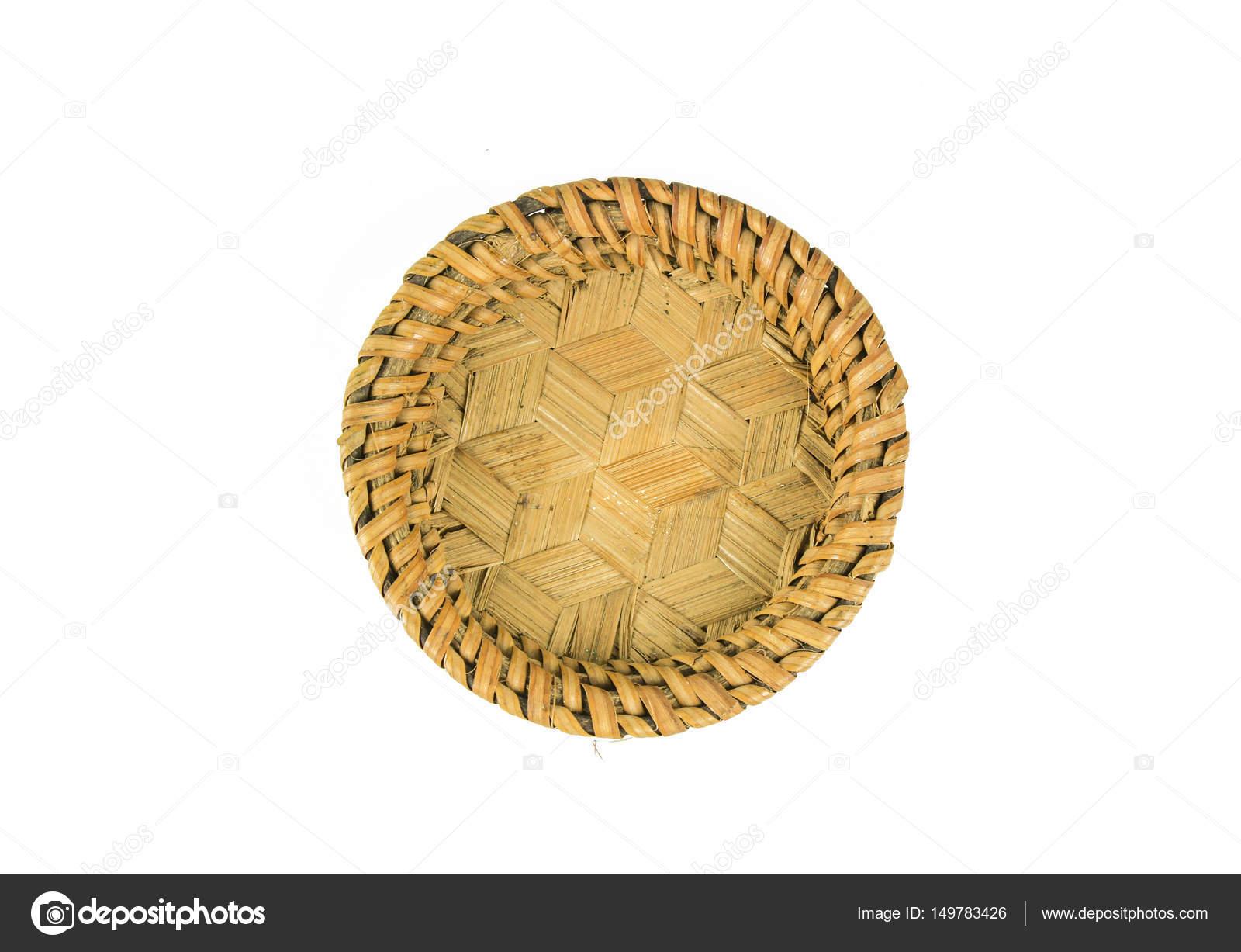 Beyaz Zemin üzerinde Boş Ahşap Meyve Veya Ekmek Sepeti Stok Foto