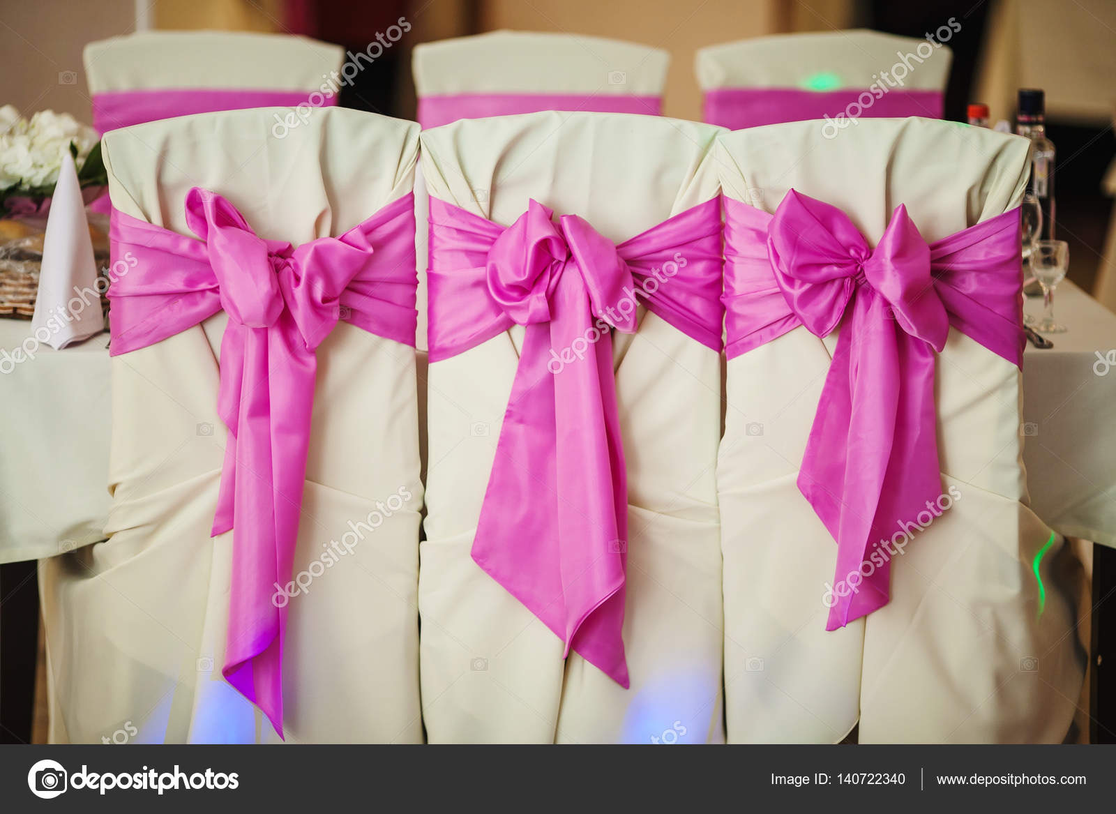Decorated Wedding Chairs With Fabric And Pink Bow U2014 Stock Photo