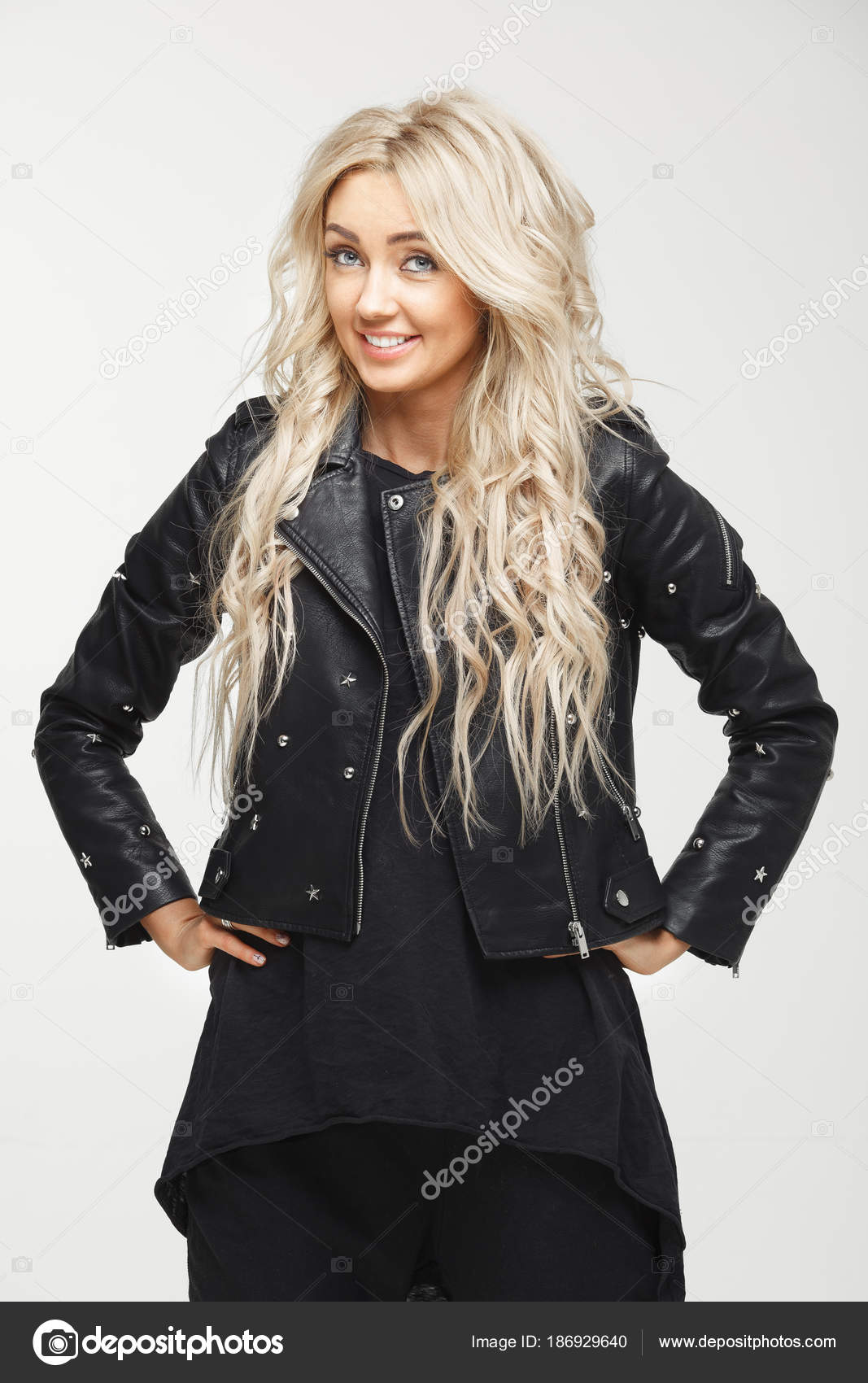 8cbda75257ce half-length portrait of smiling girl with beautiful hair in black ...