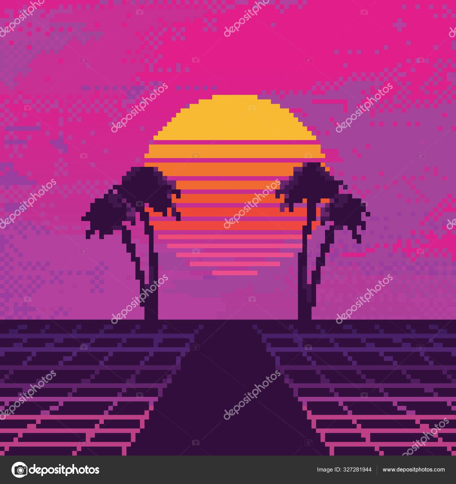 Vector Pixel Art 80s Retro Sci Background Synthwave Vaporwave