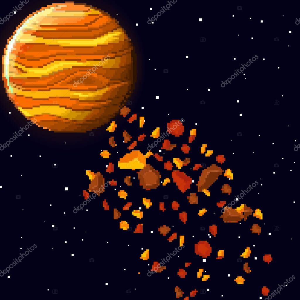 Pixel Art Planet In Space With Asteroids Retro Game Design Interface Pixel Art Space Background 8 Bit Premium Vector In Adobe Illustrator Ai Ai Format Encapsulated Postscript Eps Eps Format