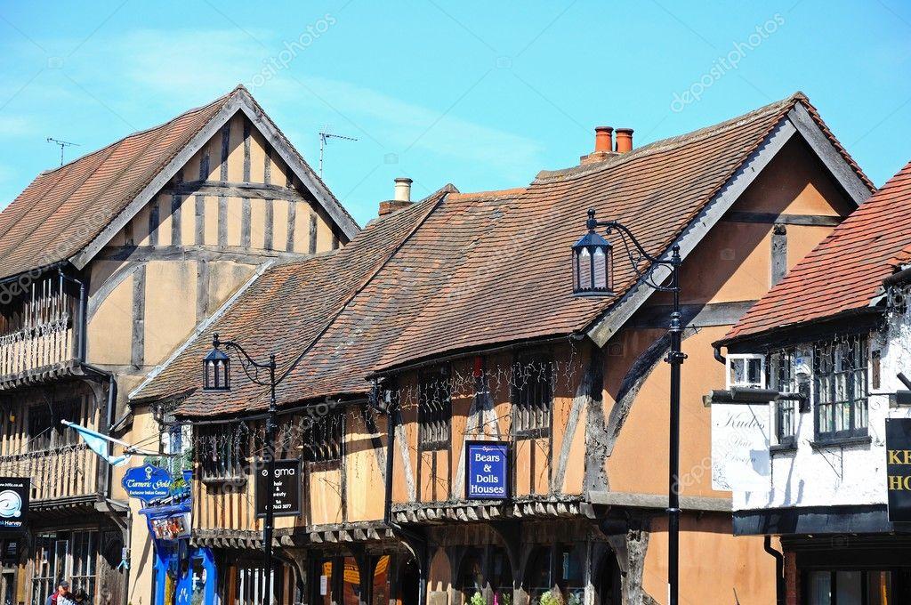 Viejos edificios de madera enmarcada por Spon Street, Coventry ...