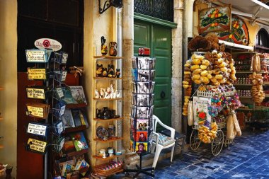Tourist gift shops along a shopping street in the old town, Rethymno, Crete.