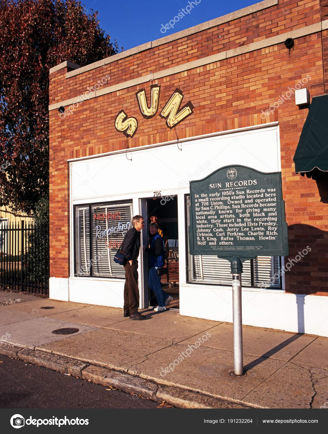 Front view of the Sun Studio along Union Avenue, Memphis, USA