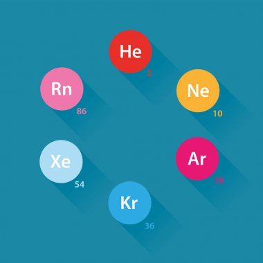 Noble gases flat design icons