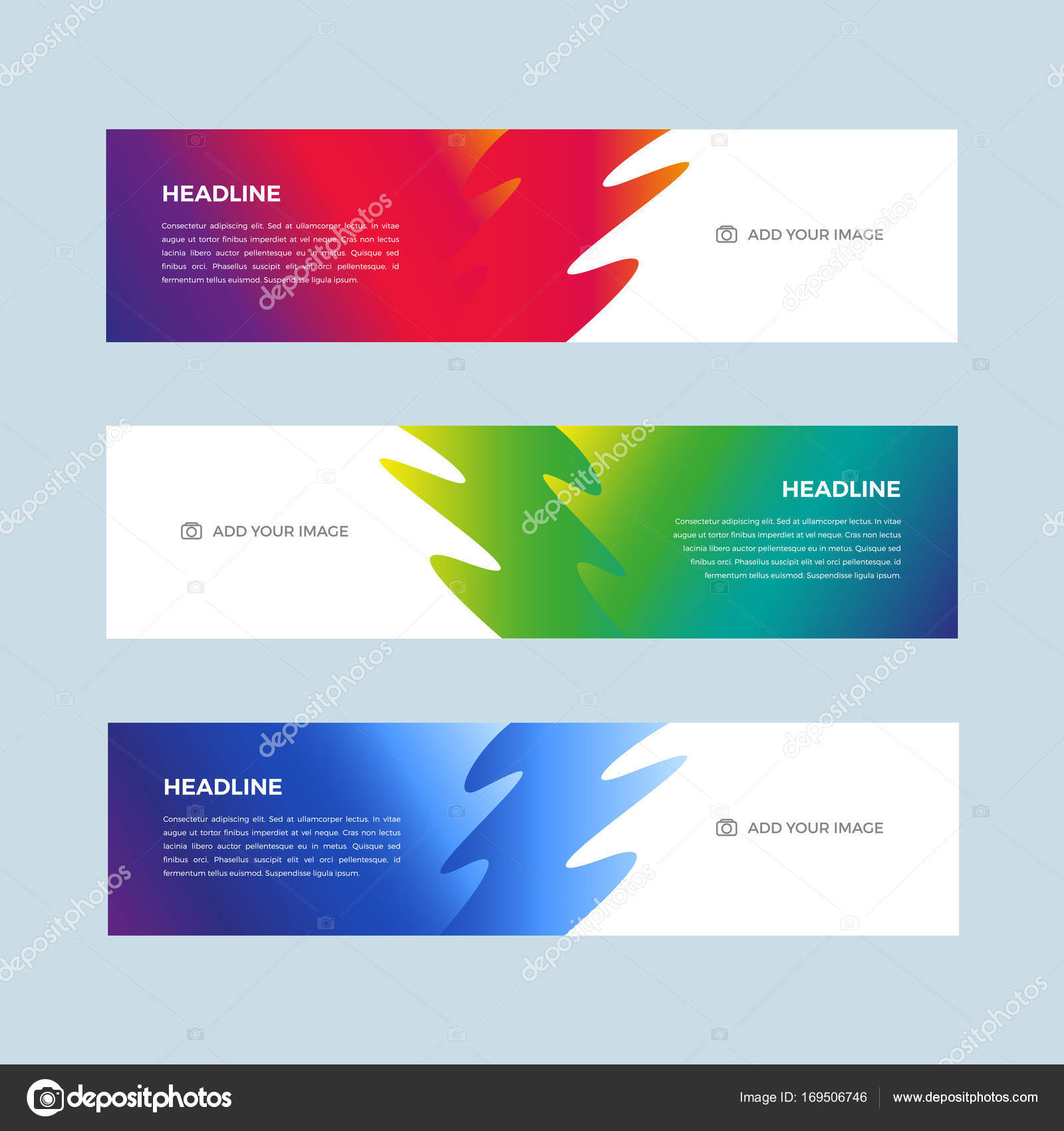 set of color gradient design banners template for web site stock