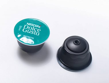 Milan, Italy - February 19, 2017 - Nescafe Dolce Gusto - ristretto coffe capsule. One of many different kinds of Nescafe coffe capsules.