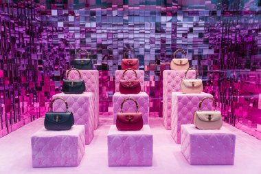 Milan, Italy - February 28, 2017: Shop window of a Gucci shop in Milan - Montenapoleone area, Italy. Few days after Milan Fashion Week. Gucci Bags Spring Summer 2017 Collection.