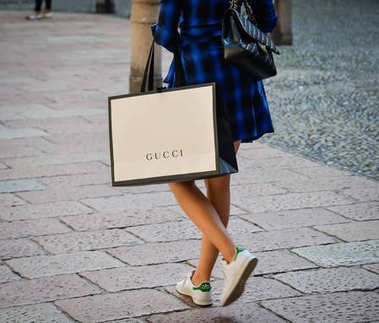 Milan, Italy - September 24, 2017:  Fashion week Gucci shopping