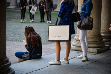 Milan, Italy - September 24, 2017:  Gucci store in Milan. Fashion week Gucci shopping