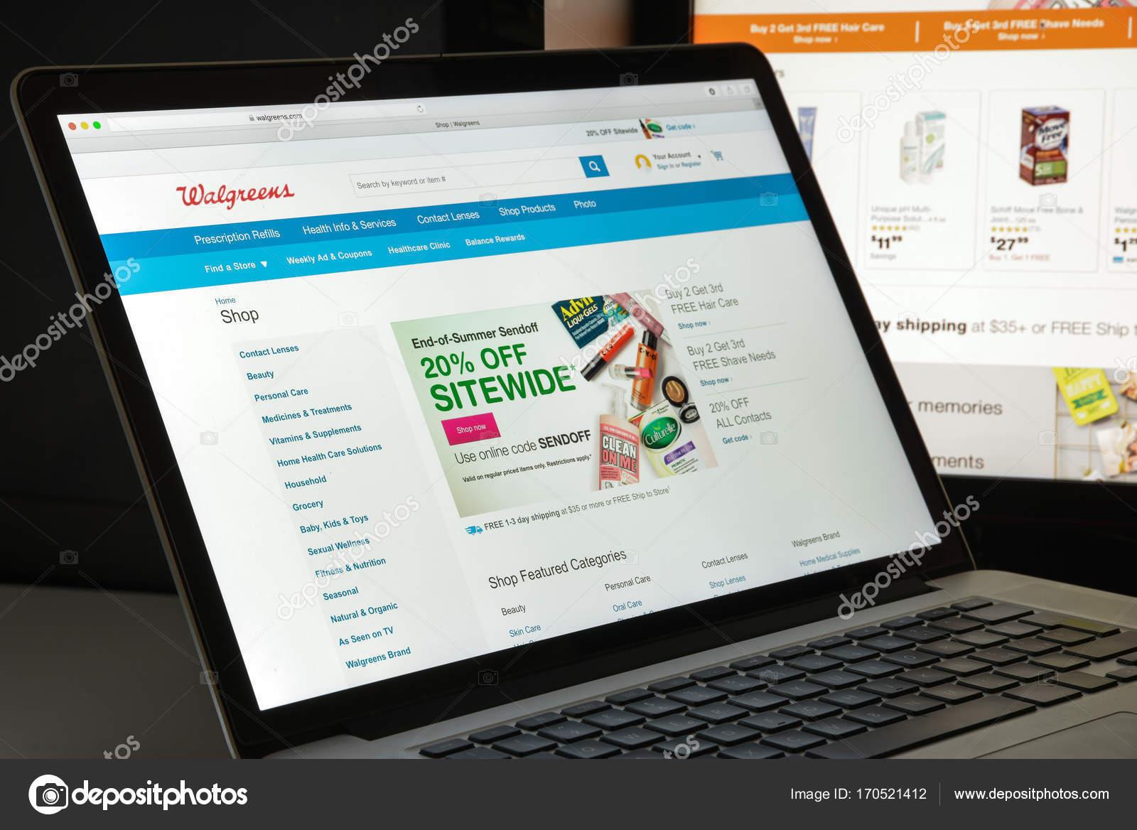 Milan, Italy - August 10, 2017: Walgreens website homepage