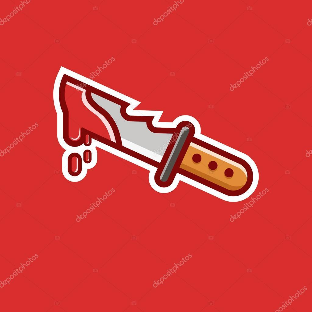 Icona Di Coltello Con Sfondo Rosso Logo Vettoriali Stock