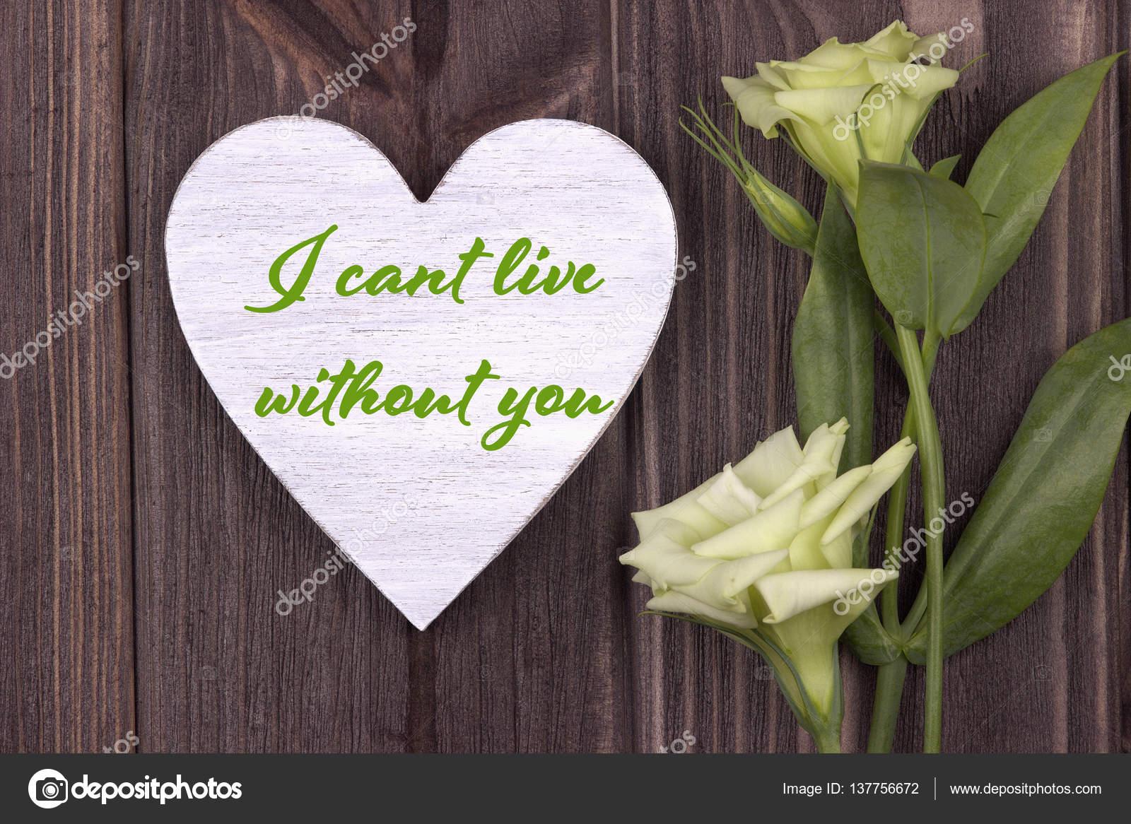 Valentijn Kaart Met Tekst Die I Cant Live Without U Groen