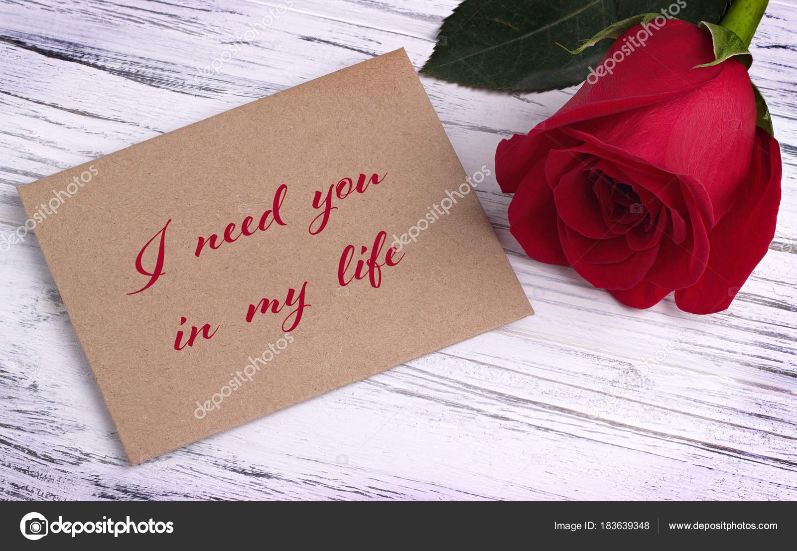 Tarjeta De Felicitación Día De San Valentín Con Rosa Roja Y Letras