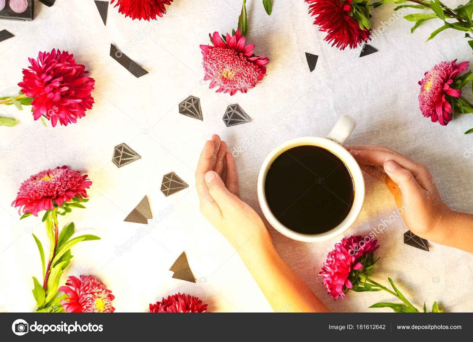 Morning coffee spring day flowers diamonds sequins view background morning coffee spring day flowers diamonds sequins view background texture stock photo mightylinksfo