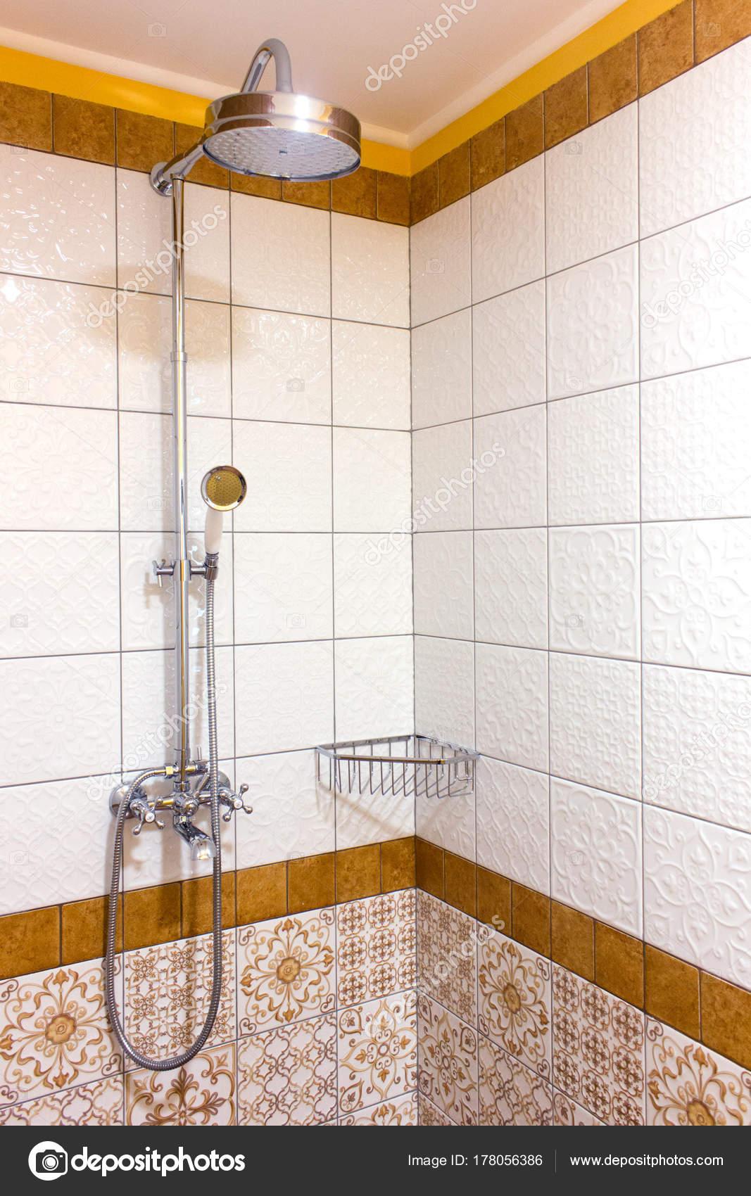Shower on bathroom on metal rack. No running water. — Stock Photo ...
