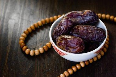 Islamic rosary and ramadan dates for iftar