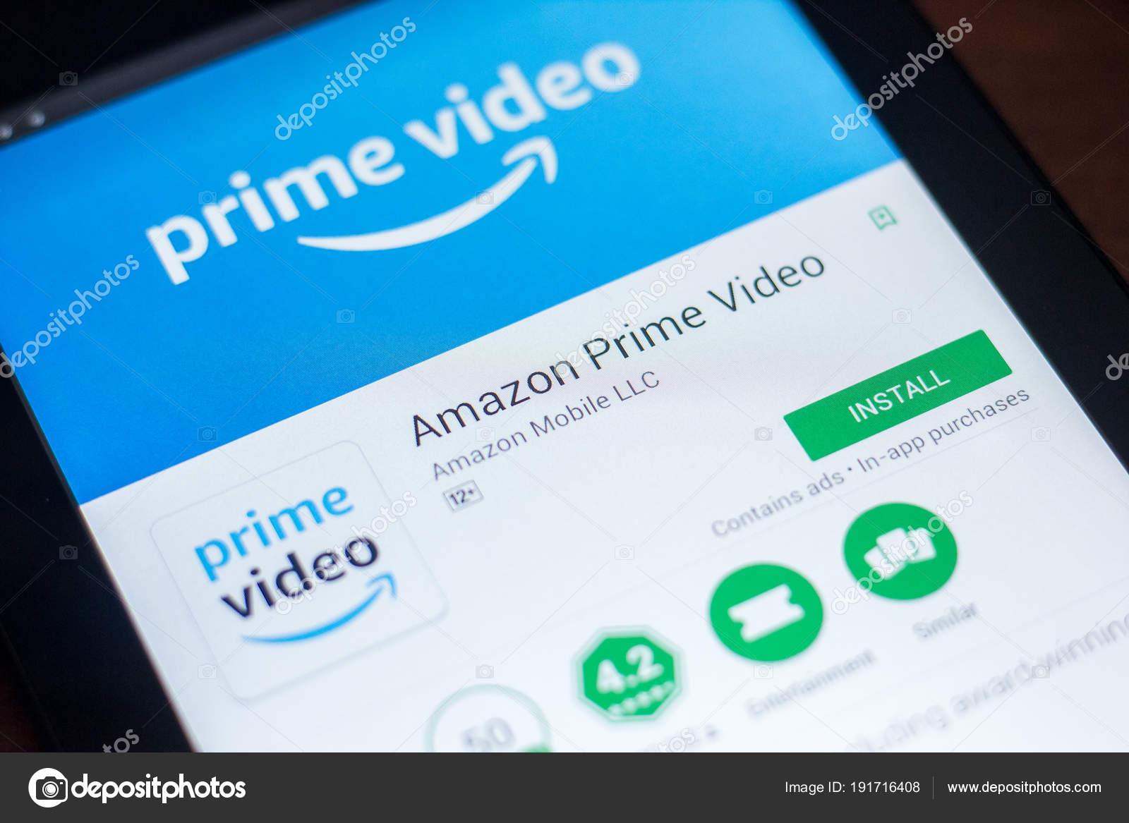 Ryazan, Russia - March 21, 2018 - Amazon Prime Video mobile