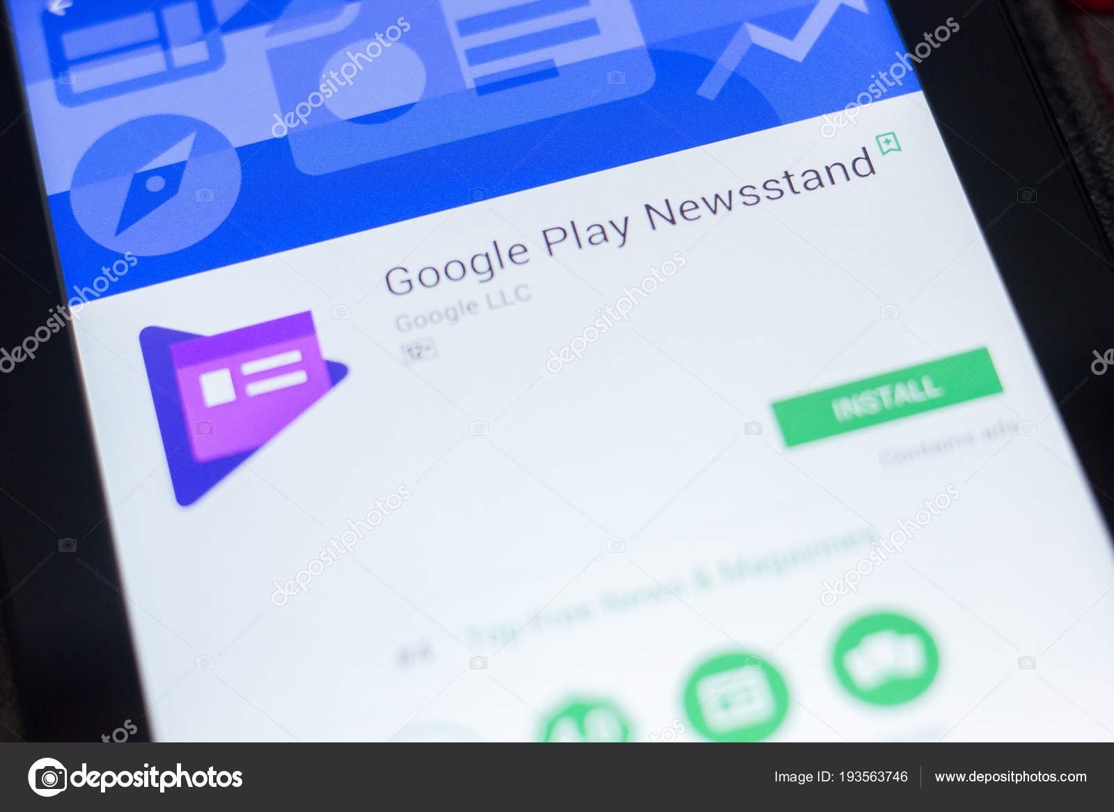 Ryazan, Russia - April 19, 2018 - Google Play Newsstand