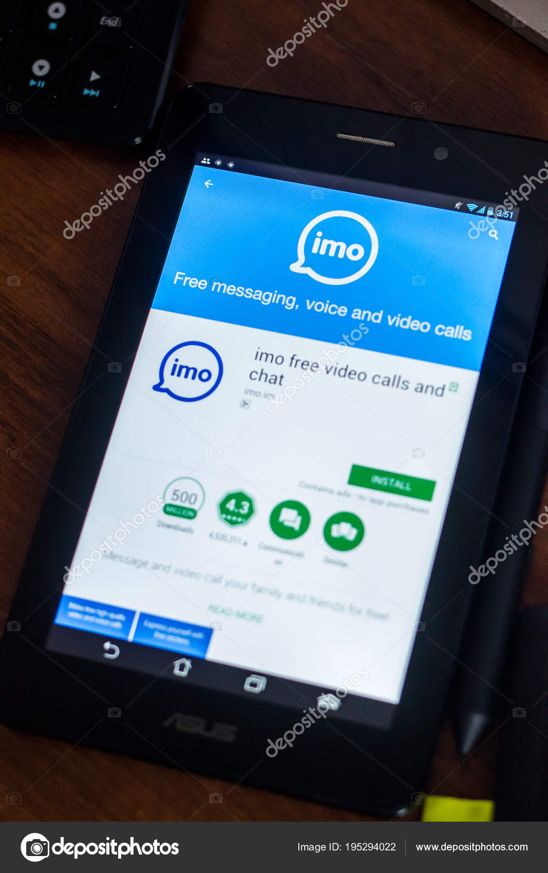 Ryazan Russia March 2018 Imo Mobile App Display Tablet