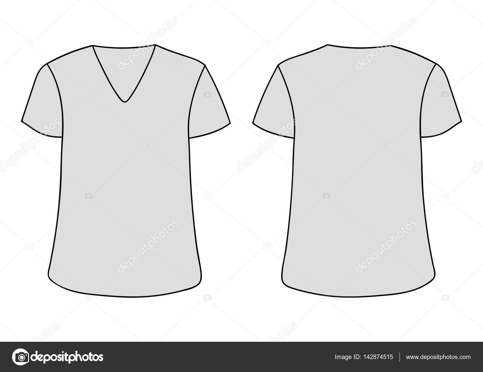 Vektor grau unisex V Ausschnitt T-shirt Vorlage. Vorderseite ...