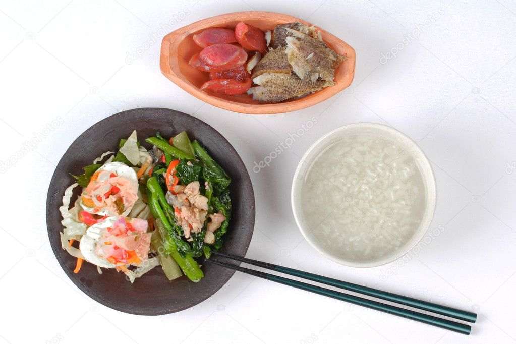 Rice gruel and side dish as shredded of fried sun dried for Rice side dishes for fish