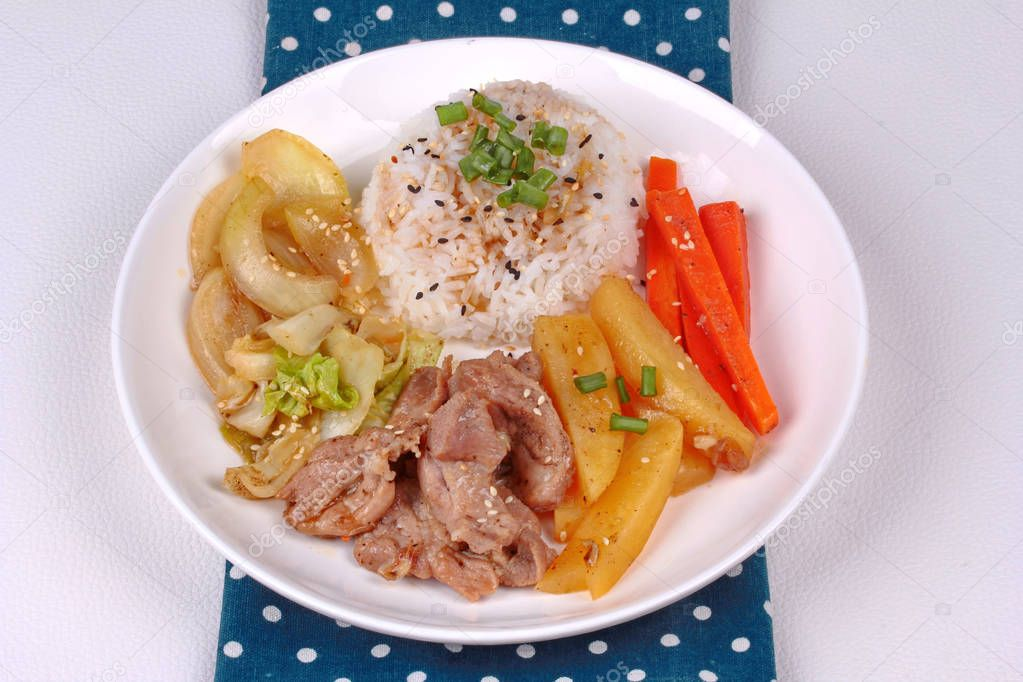 Thai jasmine rice in American korean style, Rice with sliced por