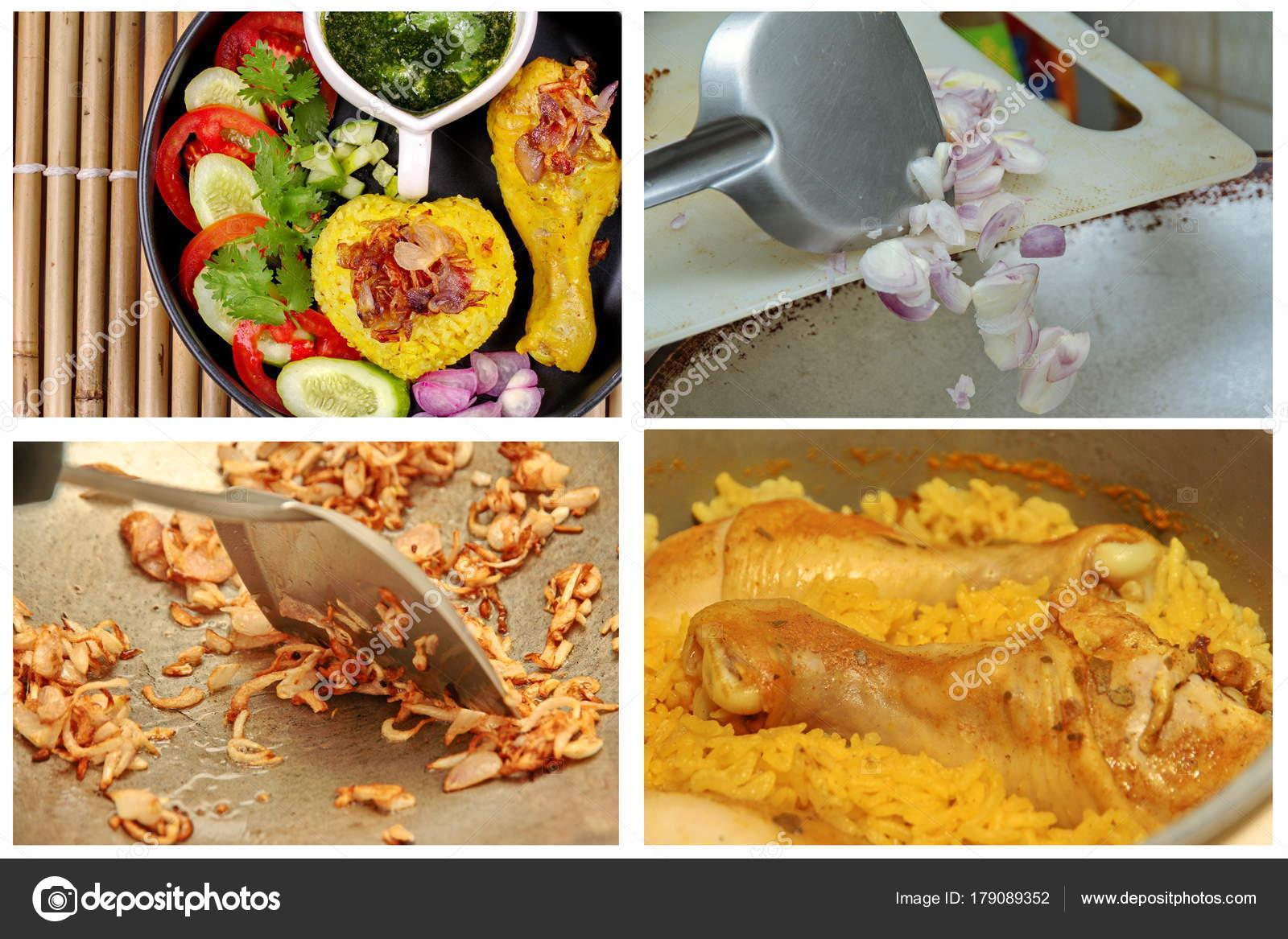 Muslimische gelb Jasmin-Reis mit Huhn, Halal-Essen — Stockfoto ...