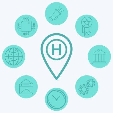 Hotel location pin vector icon sign symbol