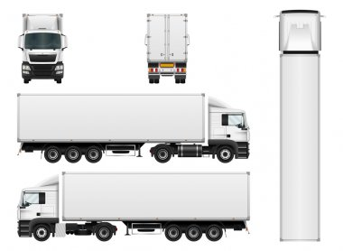 Cargo truck trailer vector template