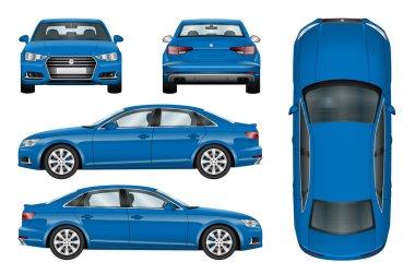 Blue car vector template