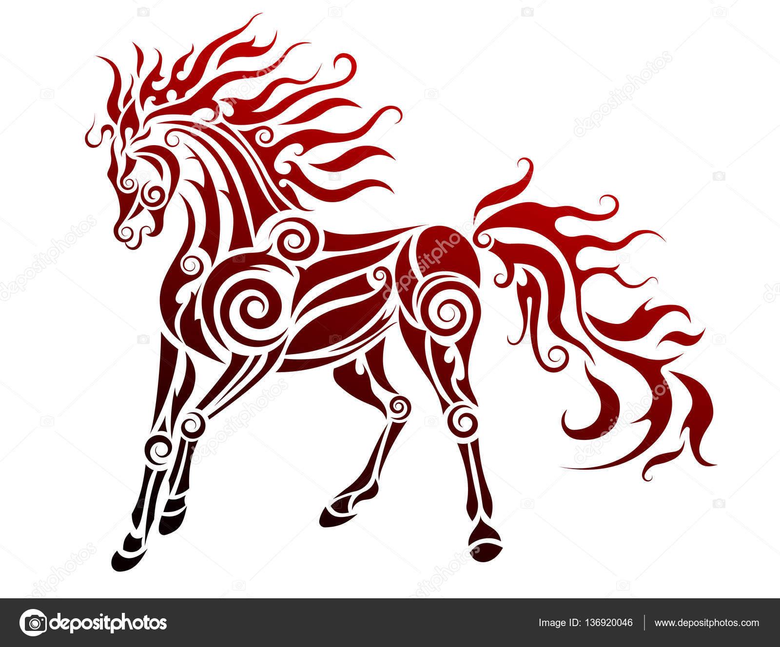 Ilustração Em Vetor Cavalo Flamejante Vetores De Stock