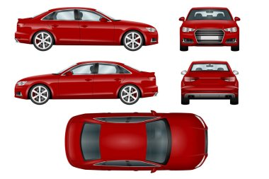 Red sport car vector template.