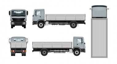 Work truck template. Vector isolated lorry on white. The ability to easily change the color. All sides in groups on separate layers. View from side, back, front and top. clip art vector