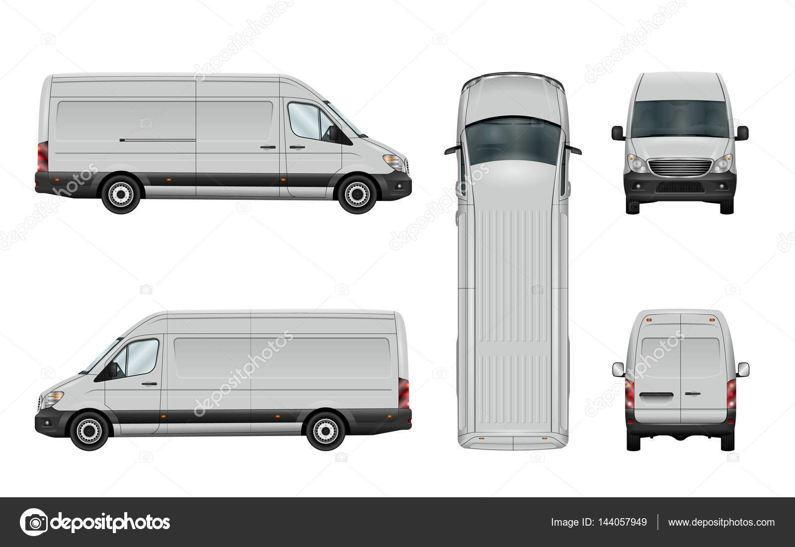 96cfa8b1781d White van template. Vector commercial vehicle isolated on white background. All  elements in the groups have names