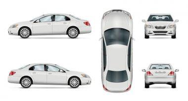 White vector car. Isolated sedan template