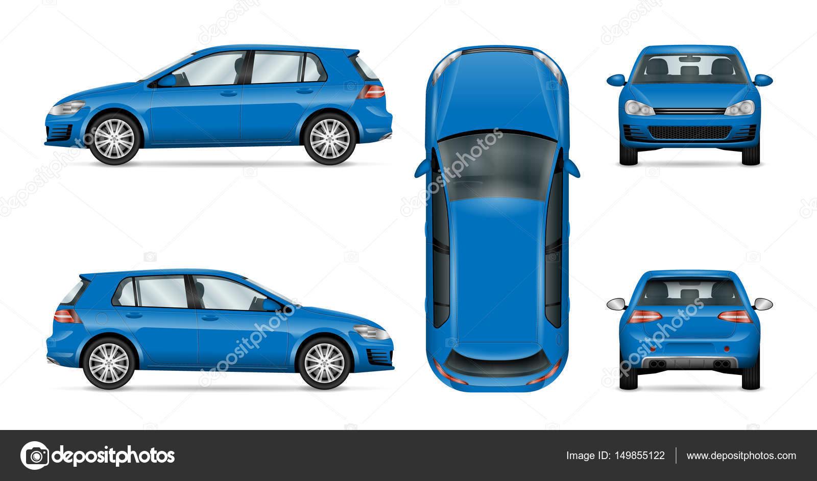 Fließheck Auto Vektor Vorlage auf weißem Hintergrund — Stockvektor ...