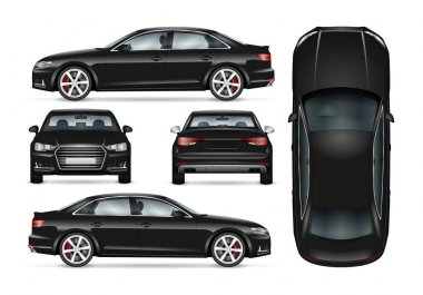 Black car vector template for car branding and advertising. Isolated business sedan set. All layers and groups well organized for easy editing and recolor. View from side; front; back; top. clip art vector